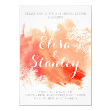 Watercolor coral reef wedding rehearsal dinner 5x7 paper invitation card