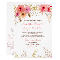 Watercolor Coral Roses and flowers Wedding Invites