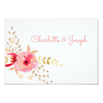 Watercolor Coral Roses and flowers Wedding rsvp Card