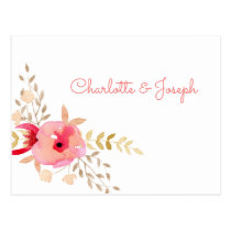 Watercolor Coral Roses and flowers Wedding rsvp Postcard