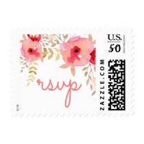 Watercolor Coral Roses flowers rsvp postage