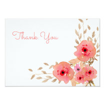 Watercolor Coral Roses flowers thank you Card
