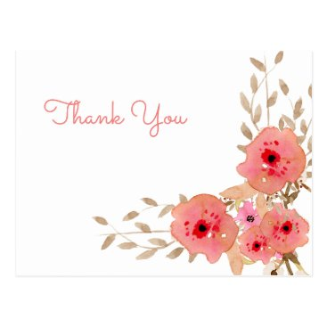 Watercolor Coral Roses flowers Thank You notes Postcard