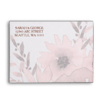 Watercolor Coral Roses flowers Wedding envelopes