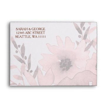 Watercolor Coral Roses flowers Wedding envelopes