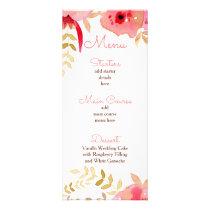 Watercolor Coral Roses flowers Wedding menu