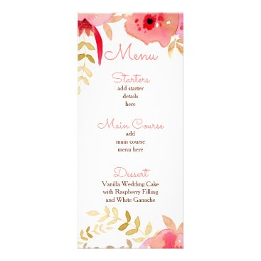 Watercolor Coral Roses flowers Wedding menu