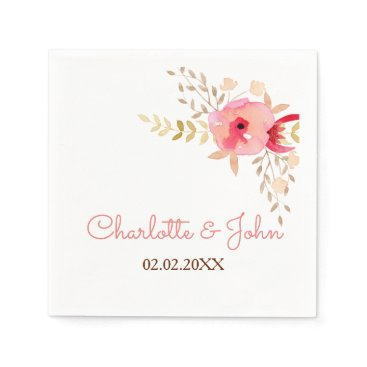 Watercolor Coral Roses flowers Wedding napkin