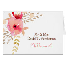Watercolor Coral Roses flowers Wedding Place Cards