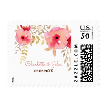Watercolor Coral Roses flowers Wedding postage
