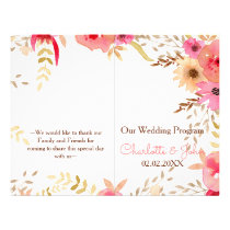 Watercolor Coral Roses flowers Wedding programs