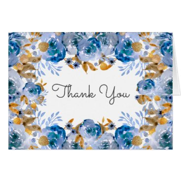 Watercolor Coral Roses flowers Wedding Thank You Card