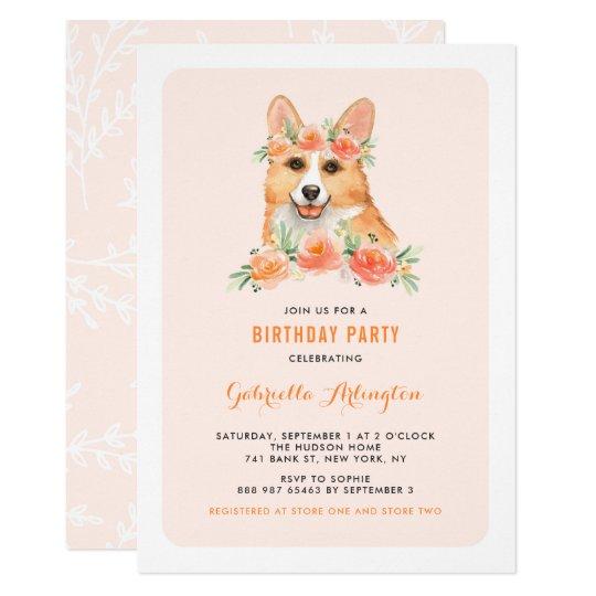 Watercolor Corgi Peach Florals Dog Birthday Party Invitation