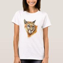 Watercolor Cougar Puma  Animal  Nature Art T-Shirt