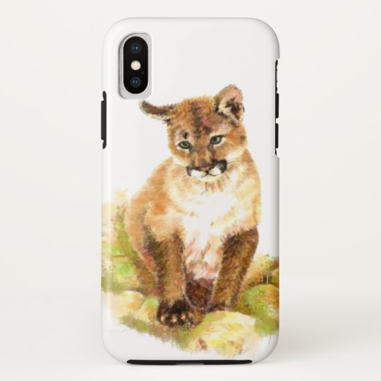 22ef6dbb54236 Watercolor Cougar, Puma, Mountain Lion Cub Kitten Case-Mate iPhone Case