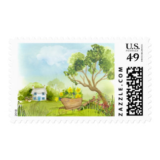 Watercolor Country Cottage Chameleon Stamp