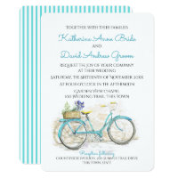 Watercolor Country Vintage Bicycle Wedding Invitation