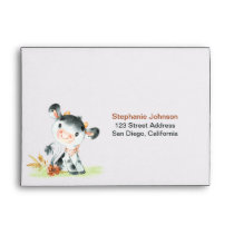 Watercolor Cow Baby Shower Farm Envelope