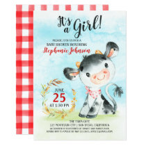 Watercolor Cow Baby Shower Farm Invitation