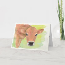 Watercolor Cow Birthday Card