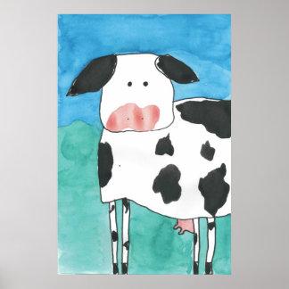 Watercolor Cow Print