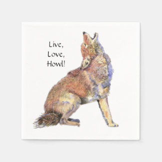 Watercolor Coyote Live, Love, Howl Fun Life Quote Standard Cocktail Napkin