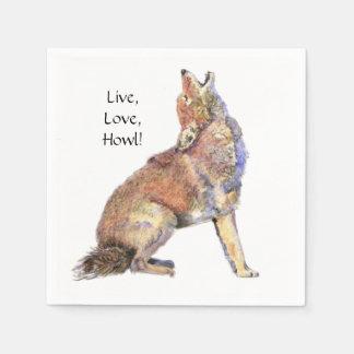 Watercolor Coyote Live, Love, Howl Fun Life Quote Paper Napkin