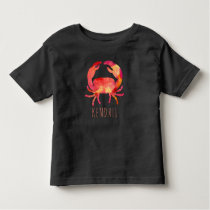 Watercolor Crab Ocean Kids Personalized Toddler T-shirt