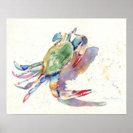 Watercolor Crab Poster