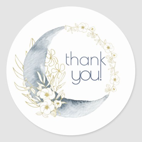 Watercolor Crescent Moon Floral Bouquet thank-you! Classic Round Sticker
