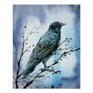 Watercolor Crow on tree branch. Poster