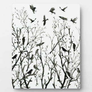 Watercolor crows in Wood at night black Plaque