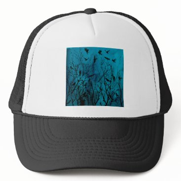 Halloween Themed Watercolor crows in Wood at night Trucker Hat