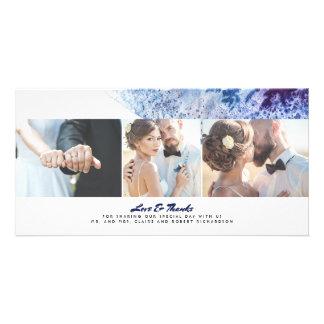 Watercolor Crystal Indigo Modern Wedding Thank You Card