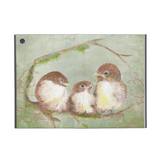 Watercolor Cuddling Sparrow Bird Family Cases For iPad Mini