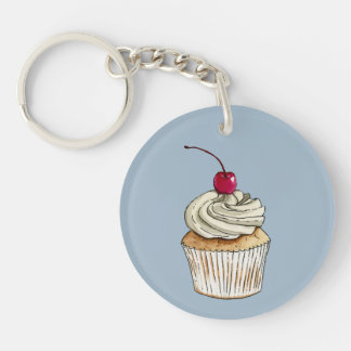 Watercolor Cupcake with Whipped Cream and Cherry Keychain