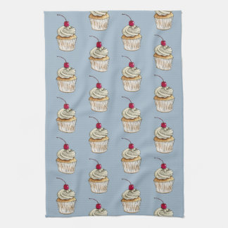 Watercolor Cupcake with Whipped Cream and Cherry Kitchen Towel