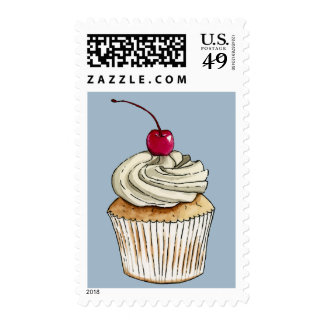 Watercolor Cupcake with Whipped Cream and Cherry Postage