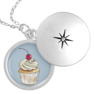 Watercolor Cupcake with Whipped Cream and Cherry Silver Plated Necklace