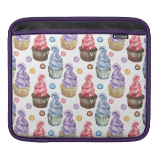 Watercolor cupcakes colorful sleeve for iPads