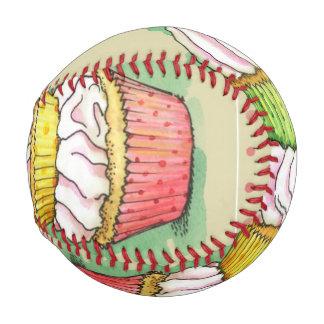 Watercolor cupcakes. Kitchen illustration. Baseball