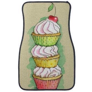 Watercolor cupcakes. Kitchen illustration. Car Floor Mat