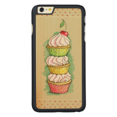 Watercolor cupcakes. Kitchen illustration. Carved® Maple iPhone 6 Plus Case