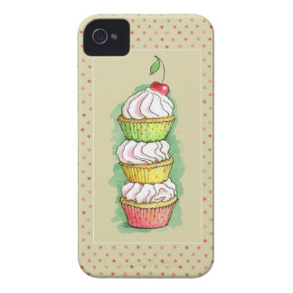Watercolor cupcakes. Kitchen illustration. iPhone 4 Case-Mate Case