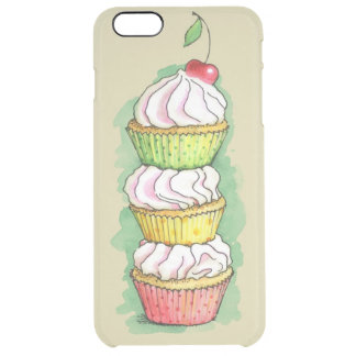 Watercolor cupcakes. Kitchen illustration. Uncommon Clearly™ Deflector iPhone 6 Plus Case
