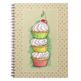 Watercolor cupcakes. Kitchen illustration. Notebook