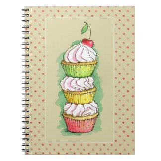 Watercolor cupcakes. Kitchen illustration. Journals