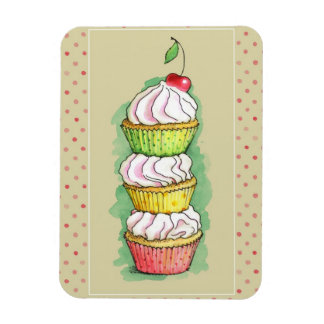 Watercolor cupcakes. Kitchen illustration. Rectangular Photo Magnet