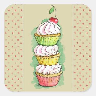 Watercolor cupcakes. Kitchen illustration. Square Sticker