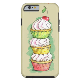 Watercolor cupcakes. Kitchen illustration. Tough iPhone 6 Case